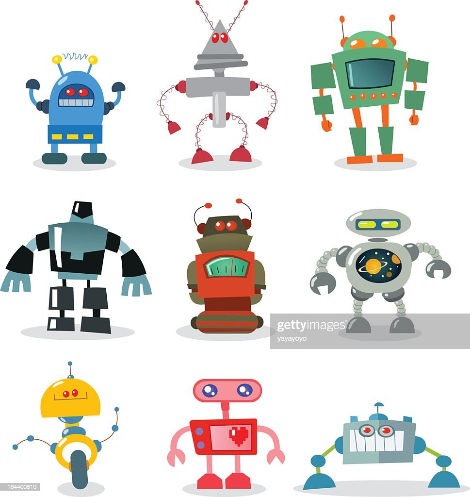 Different colored and different styled robots