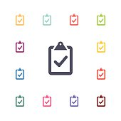 Different colored clipboards with checkmark icons