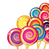 Different colored spiral lollipops on white background