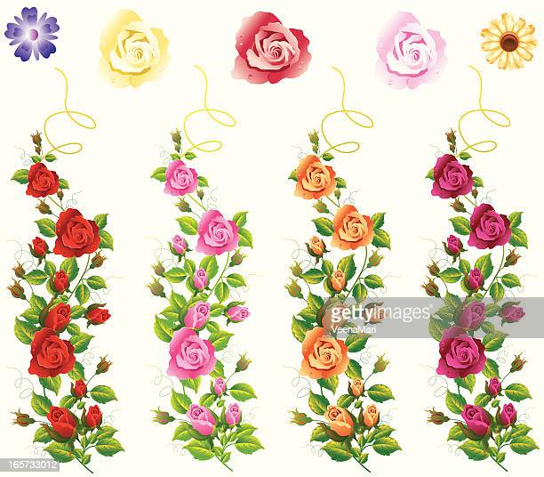 Different Colour Rose Vine Set.