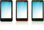 Different colours smartphones set