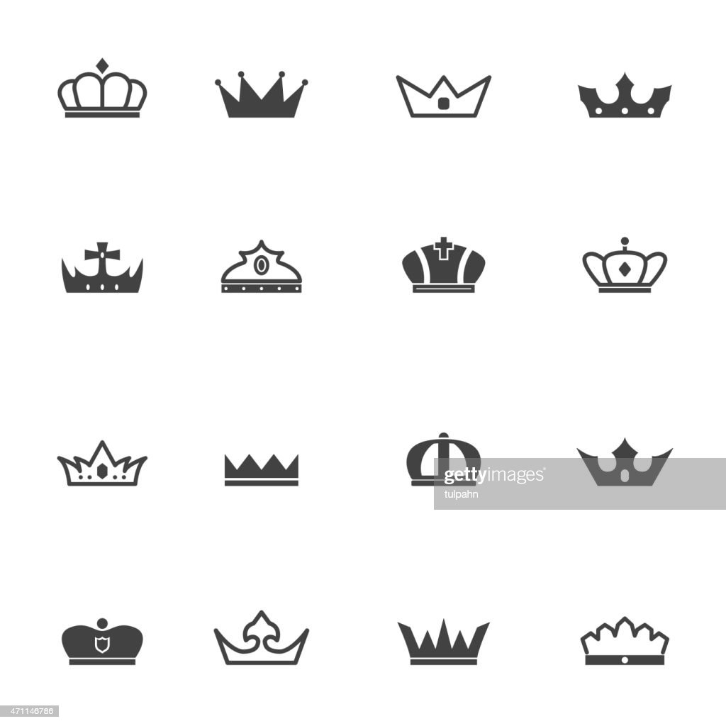 Different crown icons in black and white