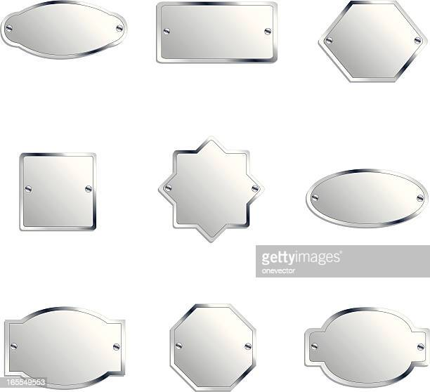 different designed silver labels  - nameplate stock illustrations