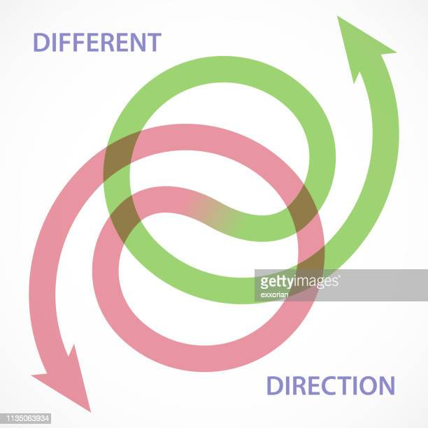 different direction - two objects stock illustrations