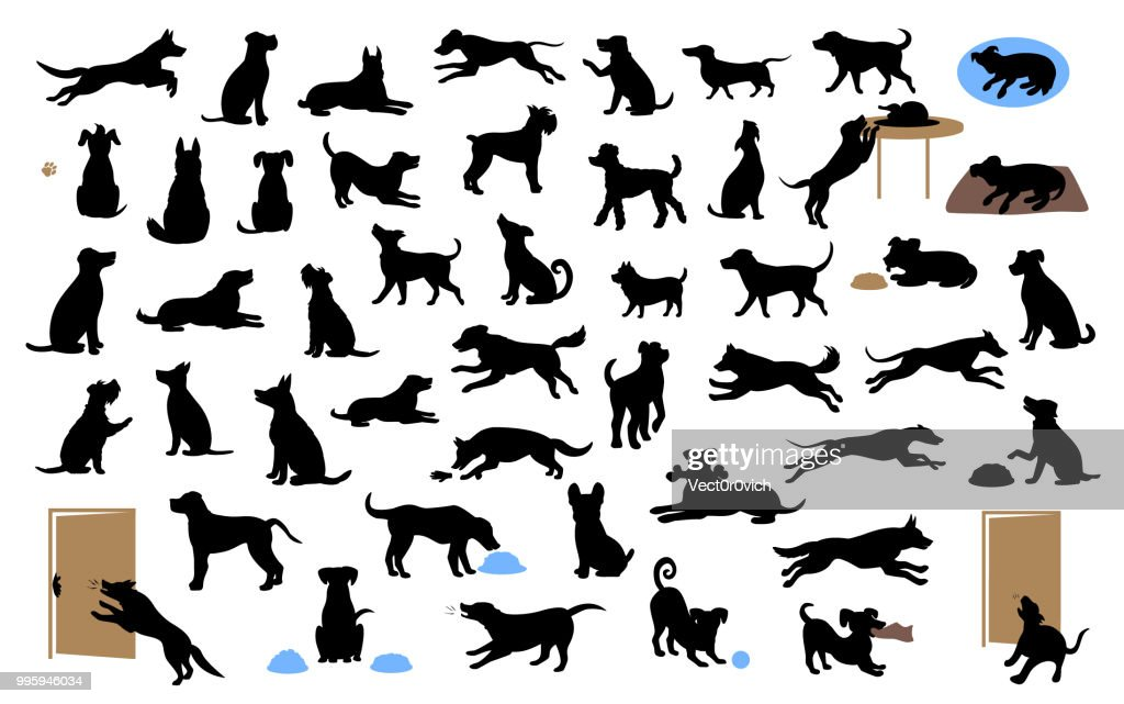 different dogs silhouettes set, pets walk, sit, play, eat, steal food, bark, protect run and jump, isolated vector illustration
