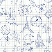 Different drawings of tourism on graph paper