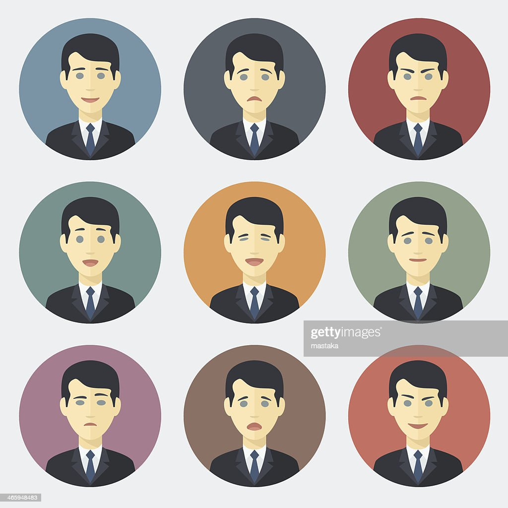 Different emotions of a businessman in suits and ties
