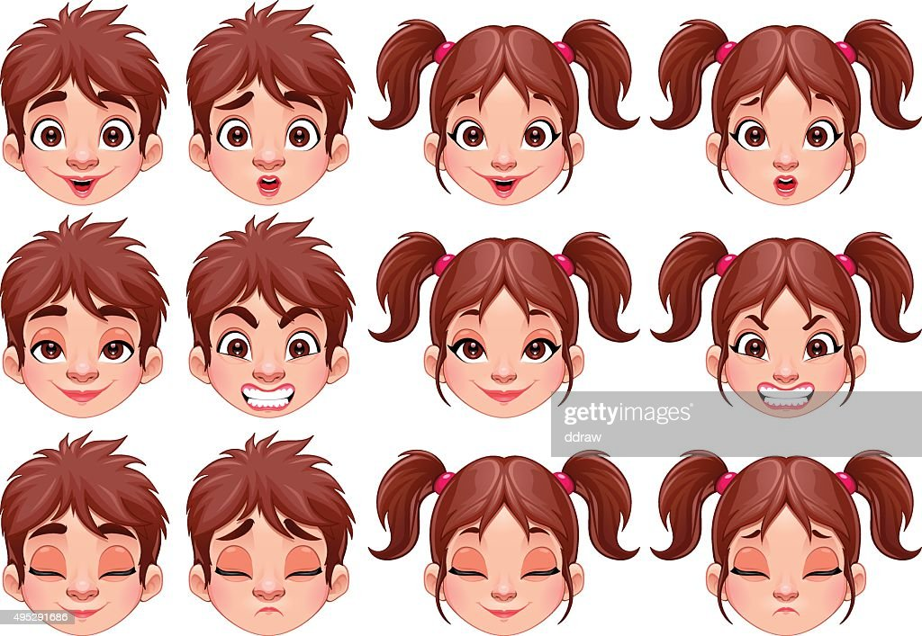 Different expressions of boy and girl
