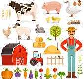 Different farm elements. Vegetables, transport and domestic animals. Vector illustrations set