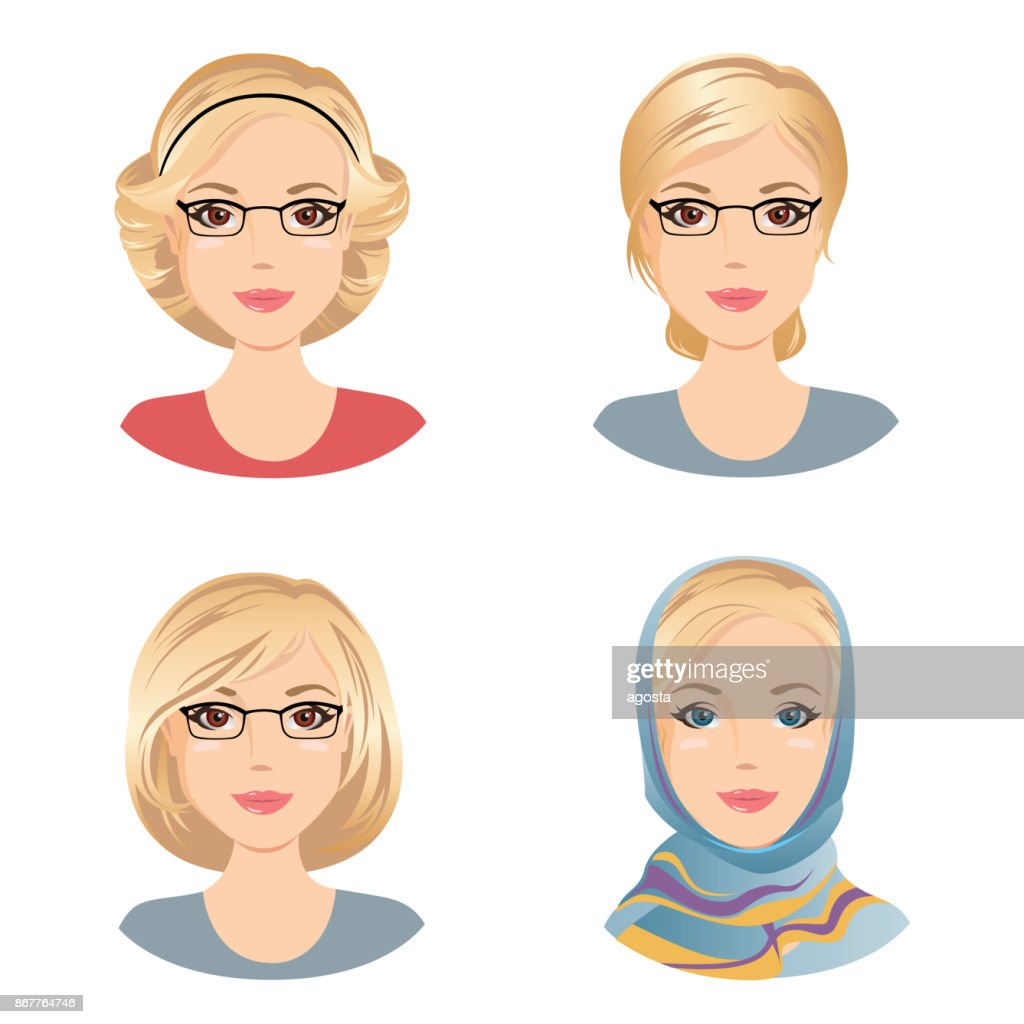Different female hairstyles. For the woman with blonde hair, middle aged woman