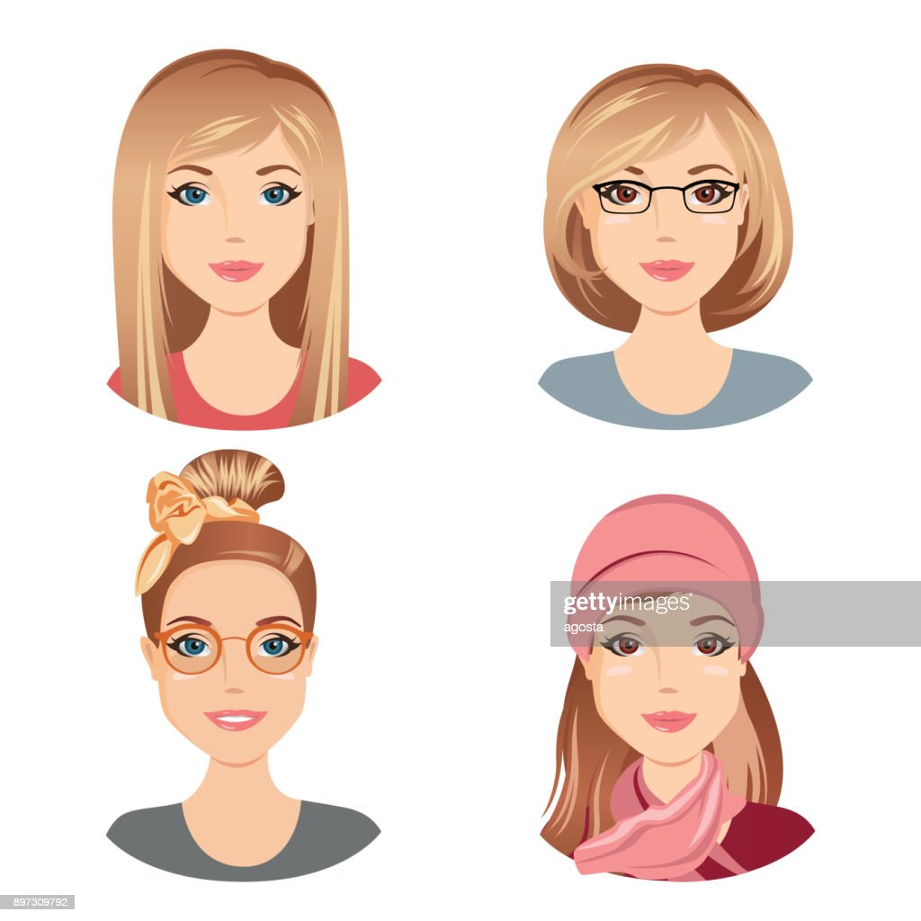 Different female hairstyles. For the young adult, middle aged woman with brown hair