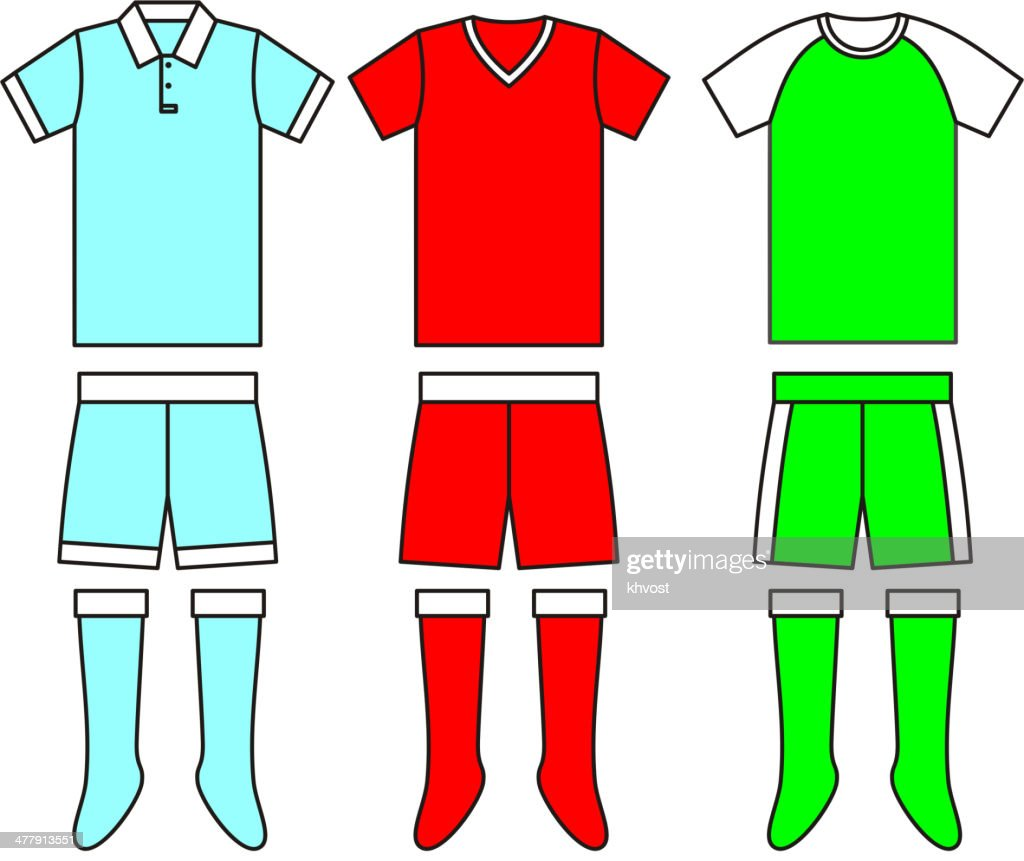 Different football Soccer uniforms