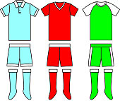Different football Soccer uniforms