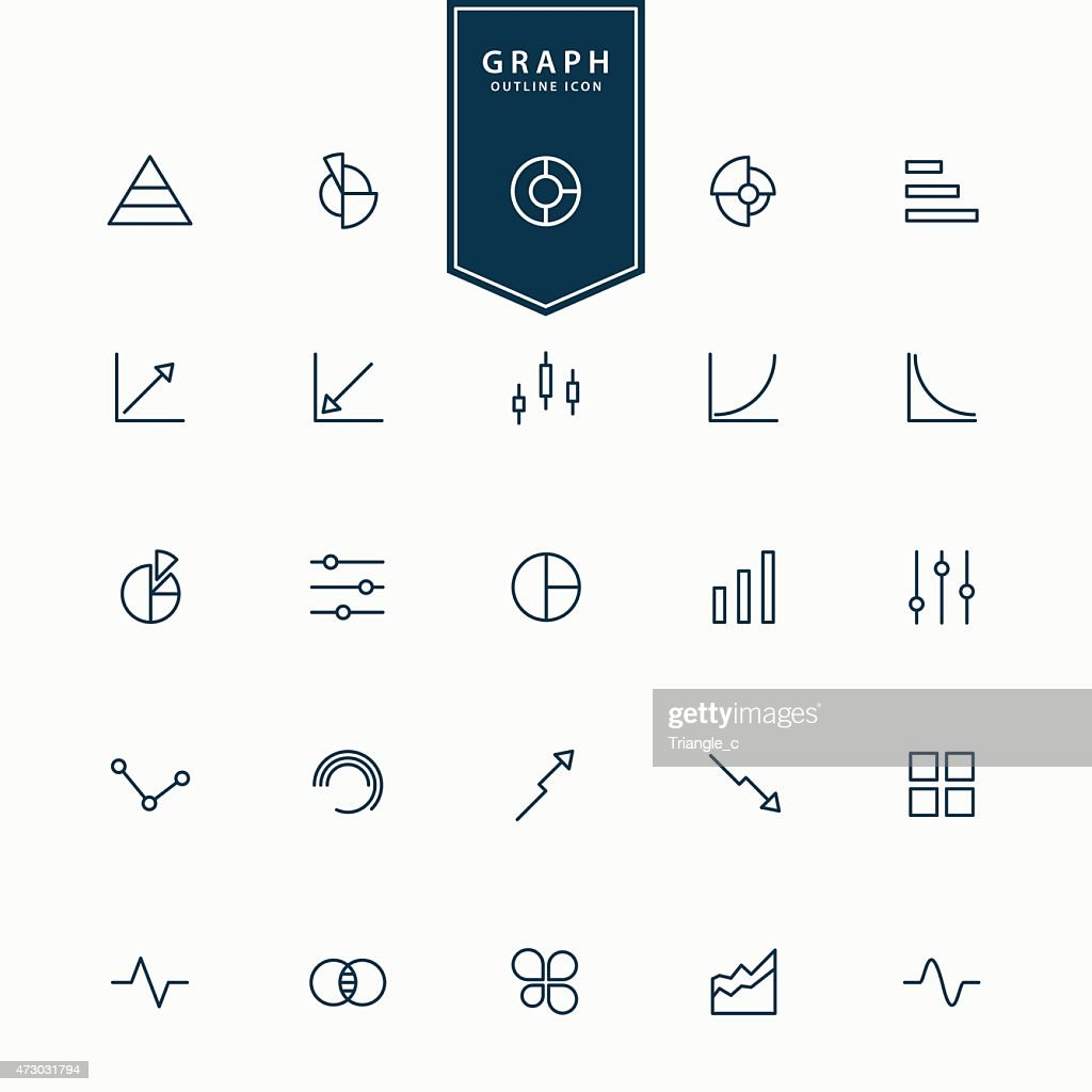 25 different graph and diagram line icons