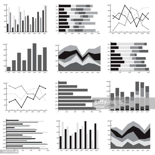 different graph styles icon set - graph stock illustrations