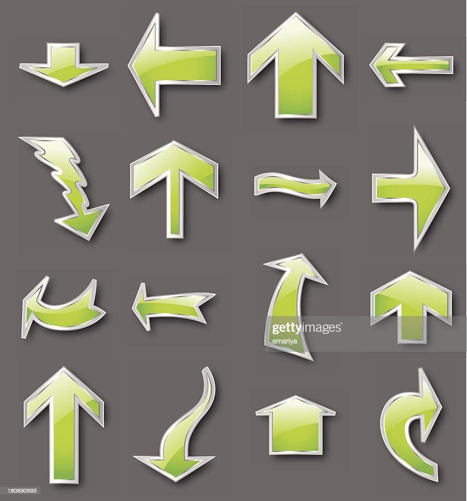 Different green arrows. Vector