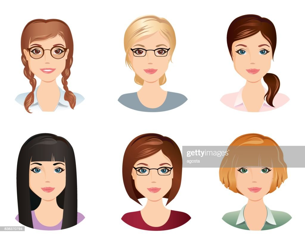 Different hairstyles, female, for the girl, young adult, woman, set 5