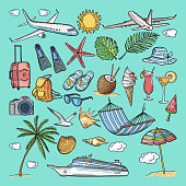 Different hand drawn coloring summer icons set. Tropical illustrations. Slippers, cocktail, bikini and other vacation ellements