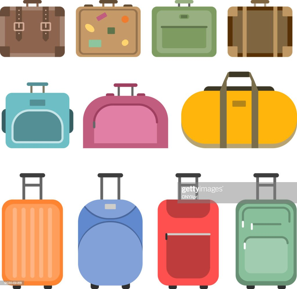 Different handle bags and travel suitcases. Pictures in flat style