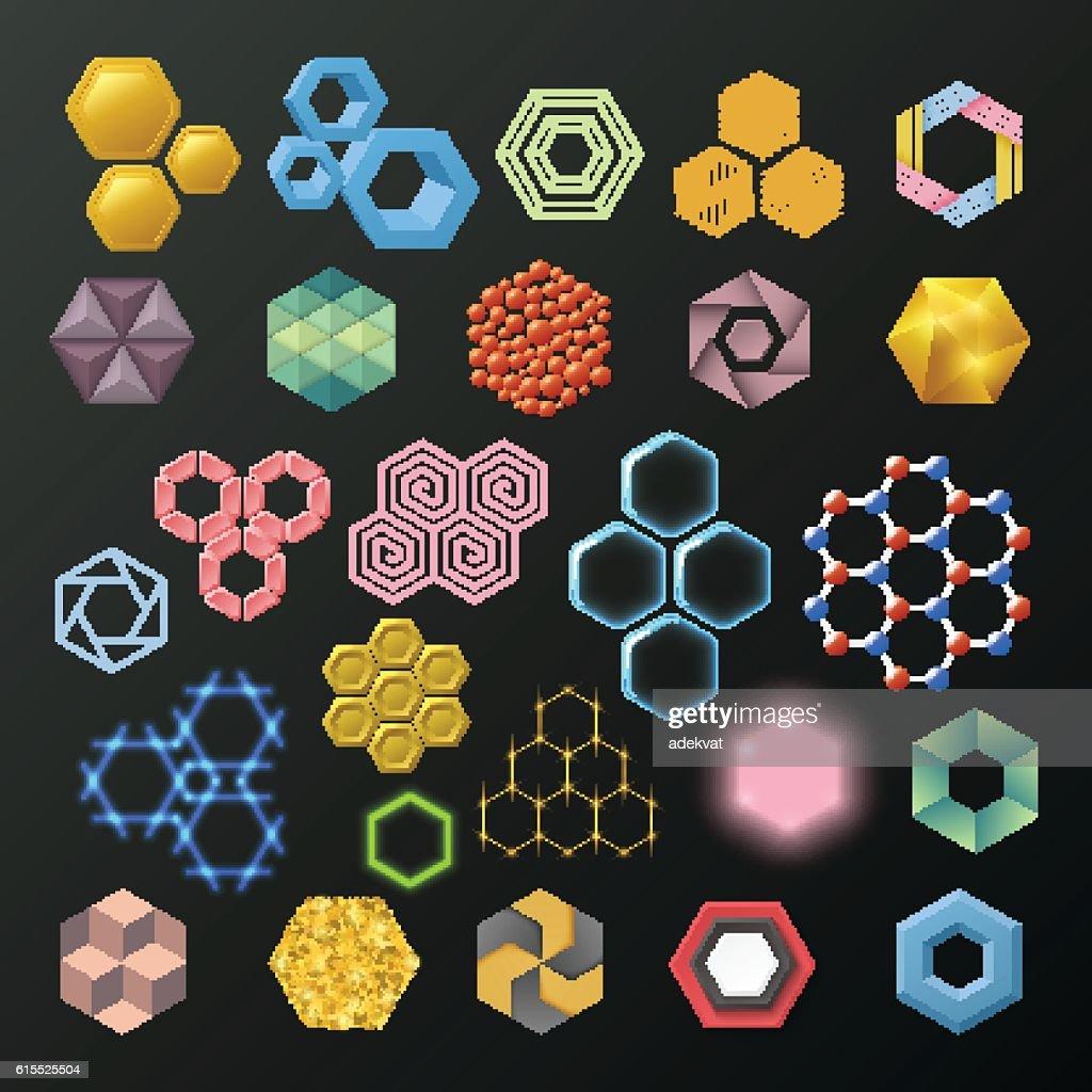 Different honeycombs vector set.