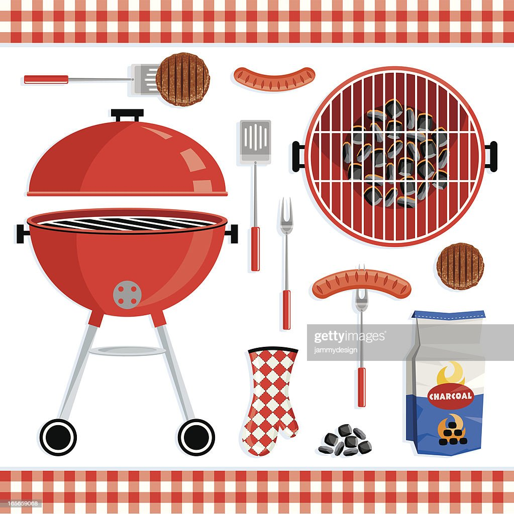 Different icons of a barbecue set
