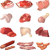 Different illustrations of meat. Marble beef, piece of lamb, and other food pictures in cartoon style