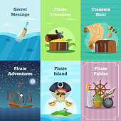 Different invitation cards of pirate theme. Vector illustrations with place for your text
