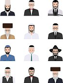 Different jewish old and young men characters avatars icons set