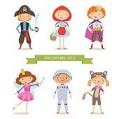 Different kids costumes vector illustration