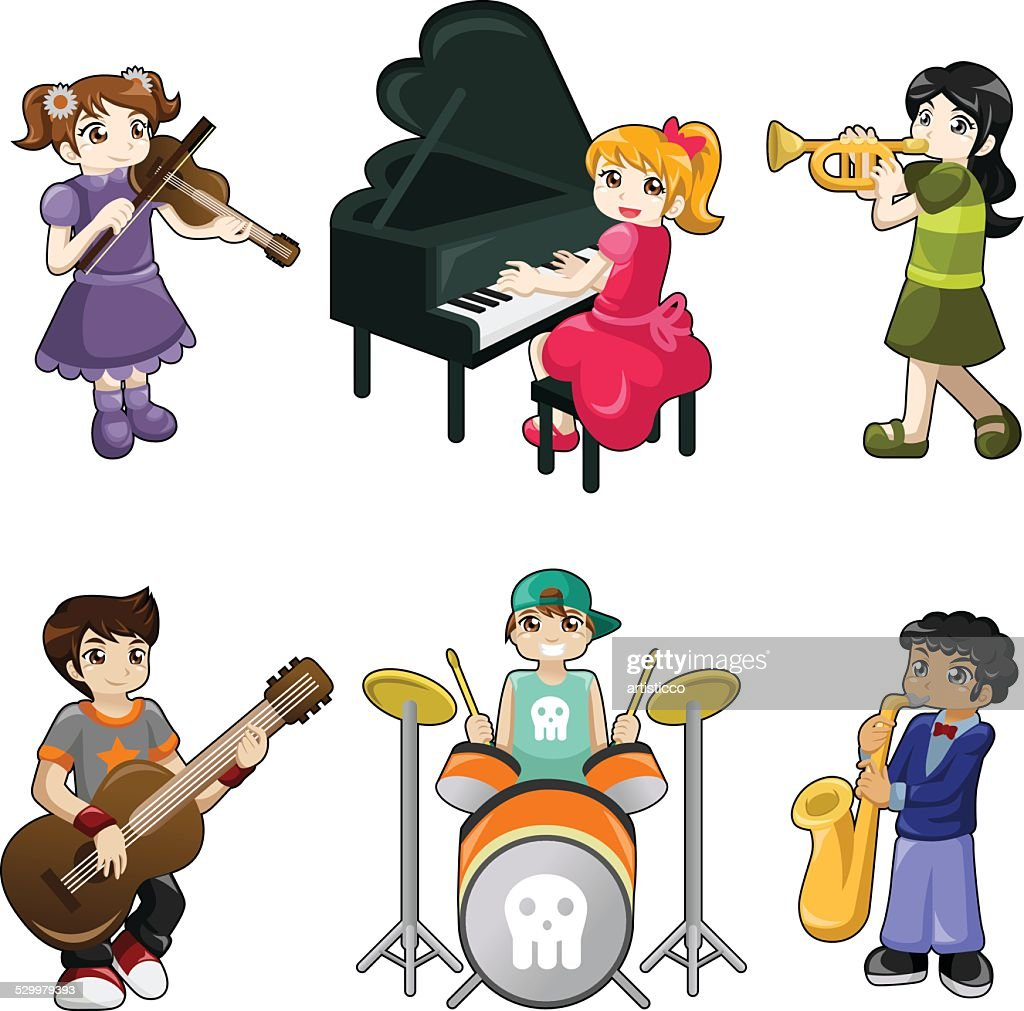 Different kids playing musical instrument