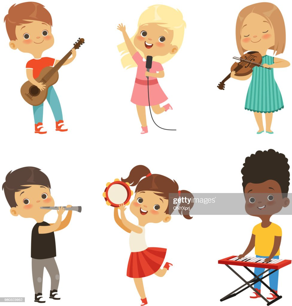 Different kids singing. Musicians isolate on white