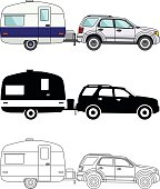 Different kind car and travel trailers isolated on white background.