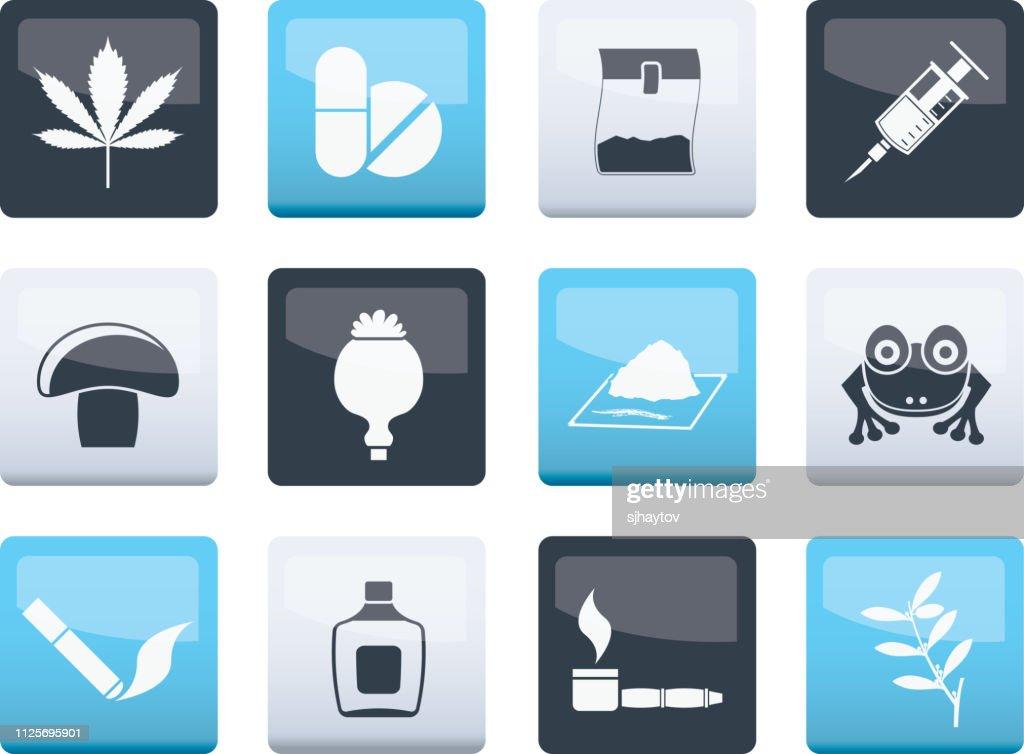 Different kind of drug icons over color background