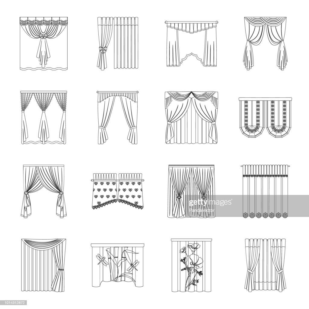 Different kinds of curtains outline icons in set collection for design. Curtains and lambrequins vector symbol stock web illustration.