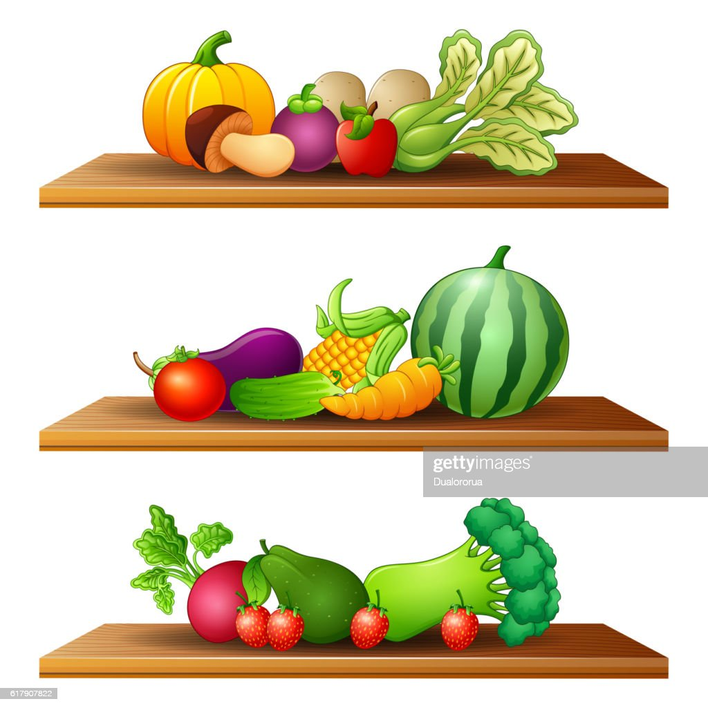 different kinds of fruits and vegetable in the wooden shelves
