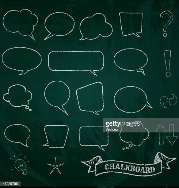 different kinds of speech bubbled drawn on a blackboard - chalk art equipment stock illustrations, clip art, cartoons, & icons