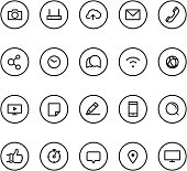 Different line style icons on circles set. Social media