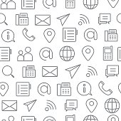 Different line style icons seamless pattern, Contact