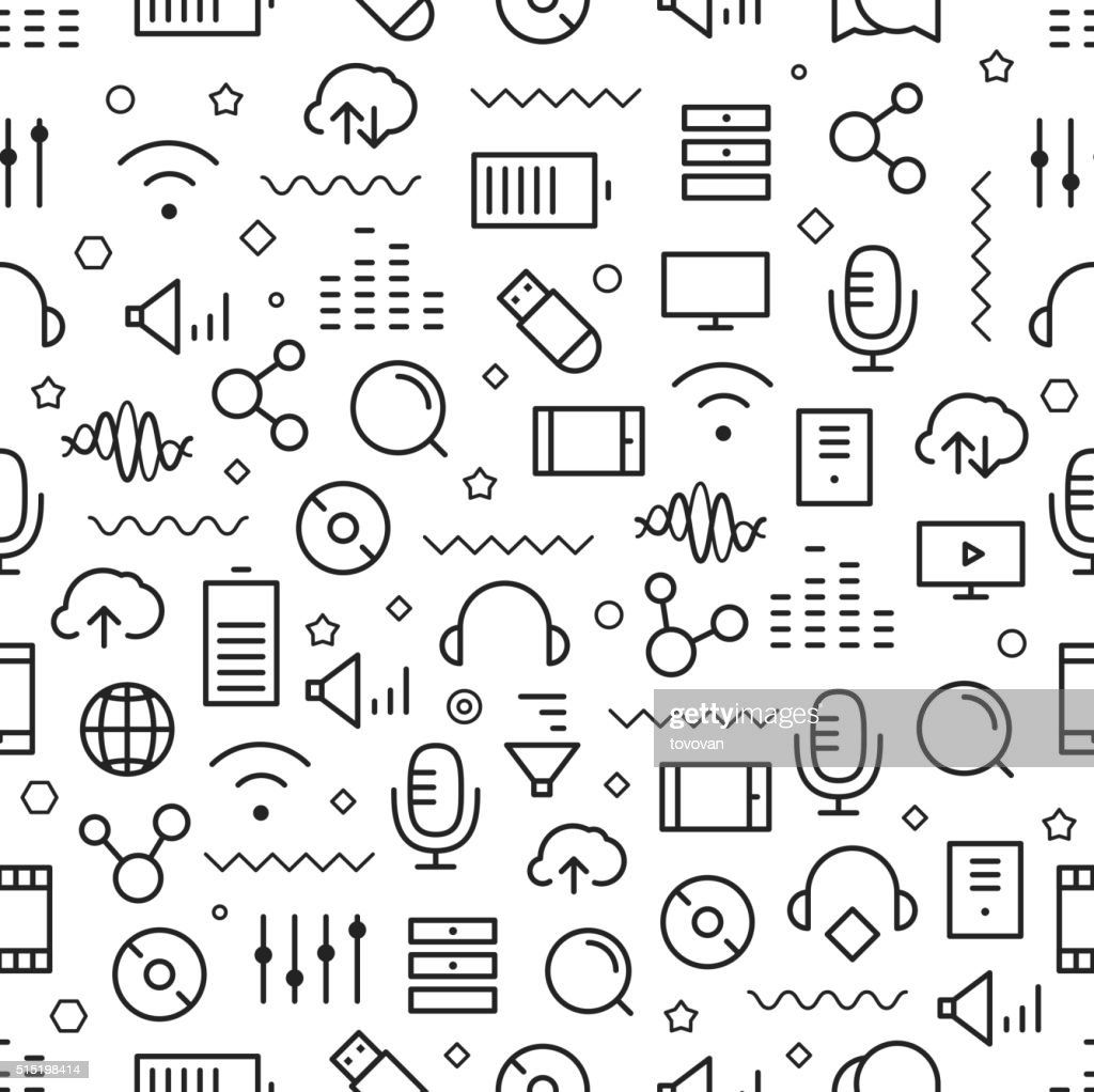 Different line style icons seamless pattern
