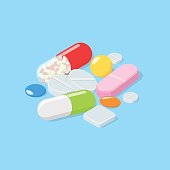 Different medical pills, tablets, capsules.