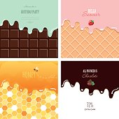 Different melted textures set. Cream on the chocolate bar, ice-cream on the wafer, honey on the honeycomb. Cute design with sample text.