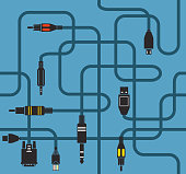 Different modern connection plugs and wires. Seamless background