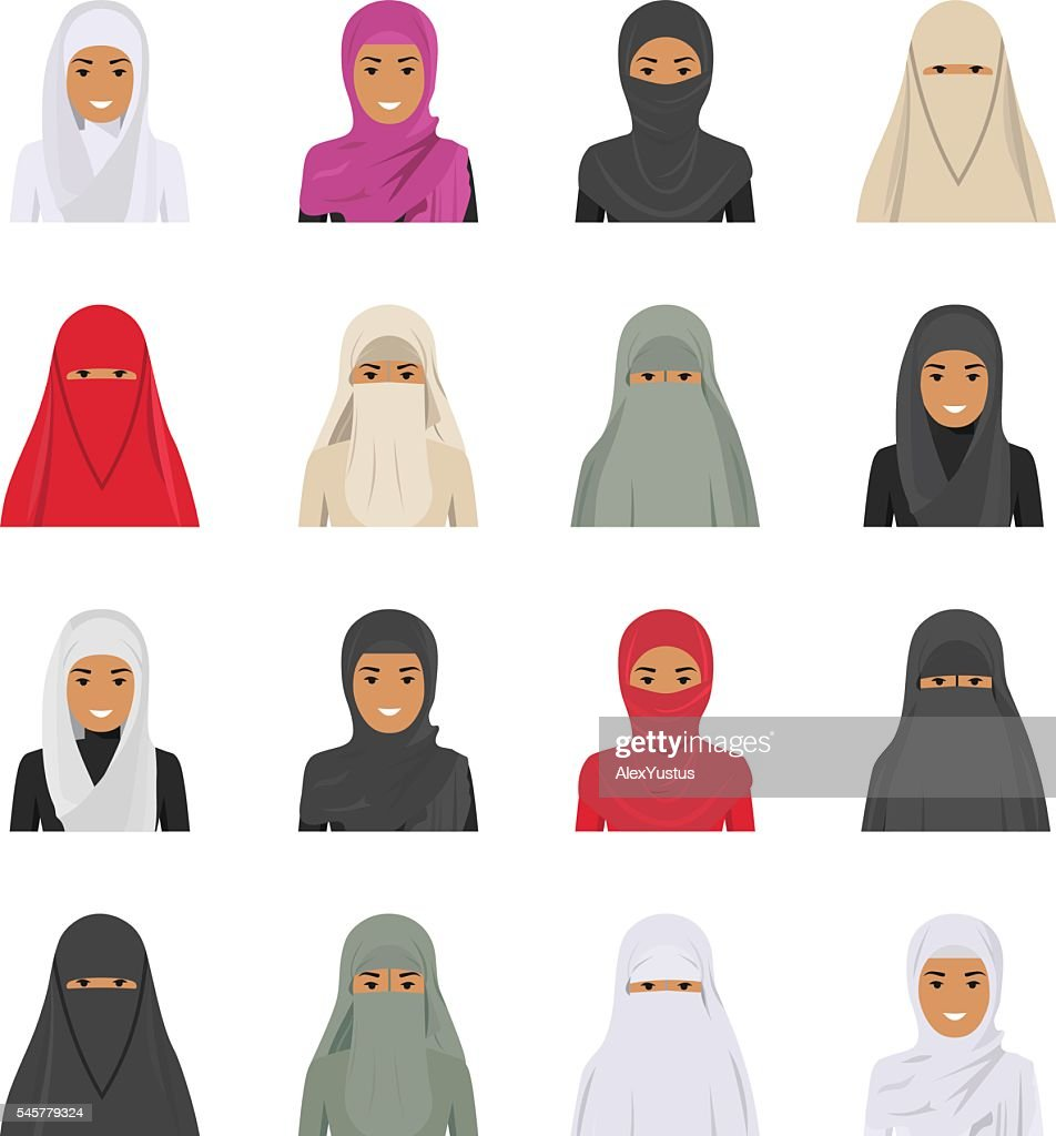 Different muslim arab people characters avatars icons set. Vector illustration.