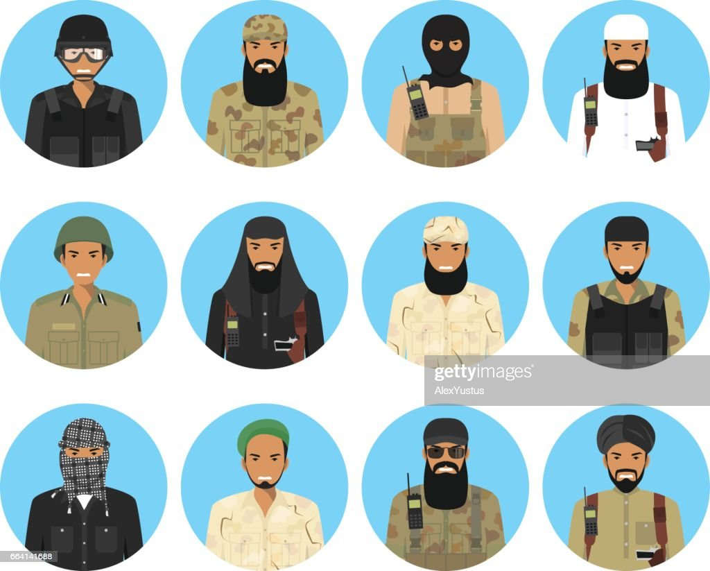 Different muslim Middle East officers and soldiers characters avatars icons set in flat style isolated on blue background. Differences islamic saudi arabic military persons faces. Vector illustration.