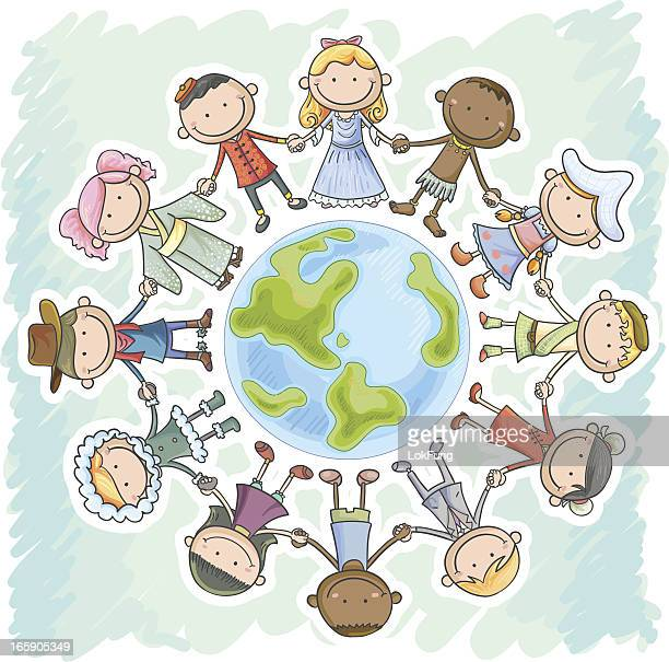 different nationality kids holding hands, standing around the earth - art and craft stock illustrations