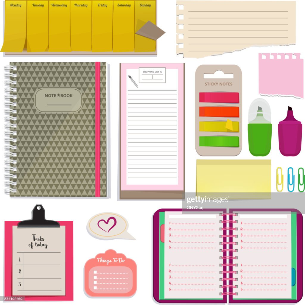 Different notebooks, notes, daily agendas and papers for organizer. Planner pad