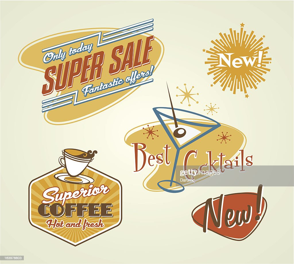 Different Offer Stickers vector on red, orange, blue, white