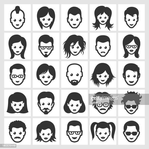 different people faces and hairstyles black & white icon set - goth stock illustrations, clip art, cartoons, & icons