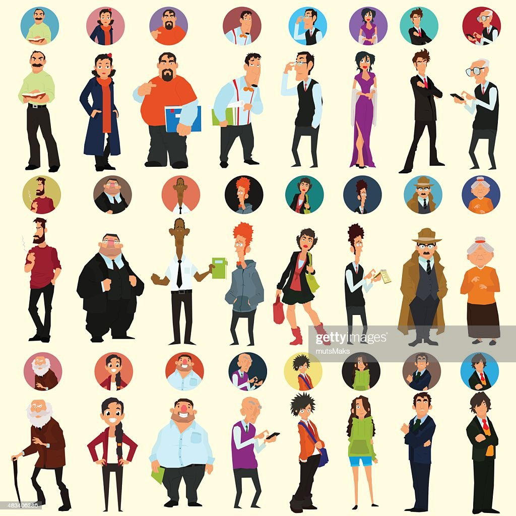 different people in full-length and different poses