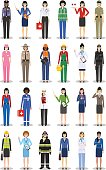Different people professions occupation characters woman set in flat style isolated on white background. Templates for infographic, sites, banners, social networks. Vector illustration.